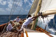Crew on Sincerity. Racing in the Antigua Classic Yacht Regatta 2015 stock photo