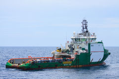 Crew and Supply Vessel offshore or Supply Boat.  Stock Photos