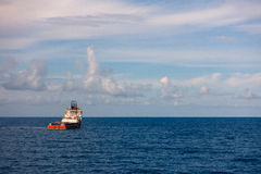 Crew and Supply Vessel offshore or Supply Boat in the sea Royalty Free Stock Images