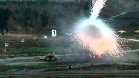 Crew of T-90S tank put smoke screen stock video