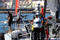 Crew of Team Dongfeng on board before start of race. Stock Photos