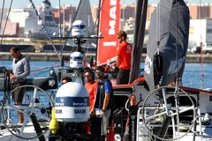 Crew of Team Dongfeng on board before start of race. Stock Image