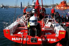 Crew of Team Mapfre on board before start of race. Royalty Free Stock Photo