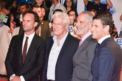Crew of `Three Christs` premiere at TIFF17. L-R Walton Goggins, Richard Gere, director Jon Avnet and producer Daniel Levinat `Three Christs` film premiere at Roy Royalty Free Stock Photography