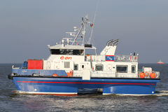 Crew transfer vessel LINA on the river Elbe Stock Photos