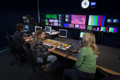 Crew in TV Broadcast Gallery Royalty Free Stock Photos