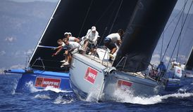 Crew at work during sailing regatta