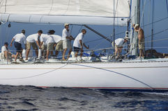 Crew Working On Sailboat Royalty Free Stock Photos