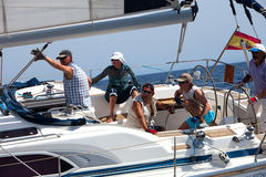 Crew of the yacht during the race Stock Photos