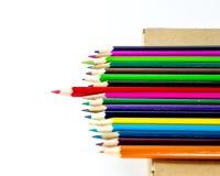 Creyón de madera colorido en el fondo blanco Imágenes de archivo libres de regalías