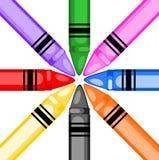 Creyones coloreados en un círculo Imagenes de archivo