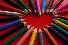 Creyones del corazón Imagen de archivo libre de regalías