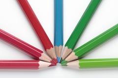 Creyones verdes y azules rojos Foto de archivo libre de regalías