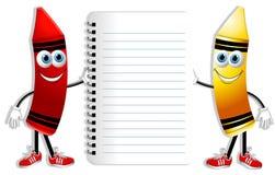 Creyones y cuaderno de la historieta stock de ilustración