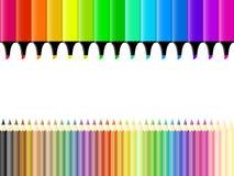 Creyones y etiquetas de plástico stock de ilustración