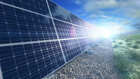 Crezca el panel solar que desarrolla que genera cierre de la energía stock de ilustración