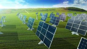 Crezca el panel solar que desarrolla que genera energía almacen de metraje de vídeo