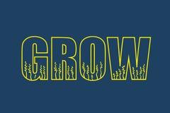 Crezca que pone letras al ejemplo con las plantas y los herbals dentro de letras libre illustration
