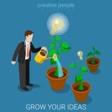 Crezca su vector isométrico plano de riego 3d de la lámpara del negocio de la idea Fotos de archivo libres de regalías
