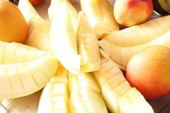 Fruits melon cutted and mango food healthful detail Sao Paulo Brazil royalty free stock photos