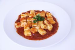 Gnocchi with tomatoe sauce isolated white background Sao Paulo Brazil stock photos