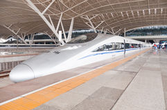 CRH fast train CRH380A at station. Wuhan, China - April 20, 2013: China Railway High-speed train crh380A-6045L stop at Wuhan railway station Platform stock images