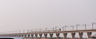 CRH train on bridge Royalty Free Stock Photography