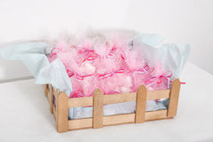Crhistening sweet favors. Closeup of sweet favors on a wooden box Royalty Free Stock Photos