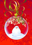 Crhistmas ball. Over red background we can see glass ball with snowman inside it Stock Photography