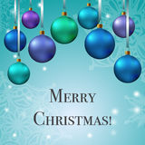 Crhistmas card with christmas tree toys ant text Royalty Free Stock Photos