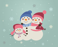 Crhristmas snowmen family vintage Stock Photo