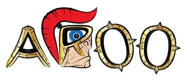 Cri d'Aroo fait de profil spartiate de guerrier et lettres d'or en métal illustration stock