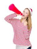 Cri de femme avec le mégaphone Image stock