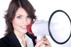 Cri de femme dans un mégaphone Photographie stock