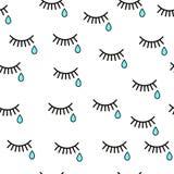 cri Fond sans couture avec des larmes et des cils Image libre de droits