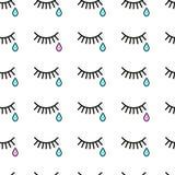 cri Fond sans couture avec des larmes et des cils Images libres de droits