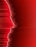 Cri rouge de pixel de profil de visage d'émotion illustration stock