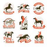 A criação de animais de cavalo etiqueta emblemas ajustados Imagens de Stock Royalty Free