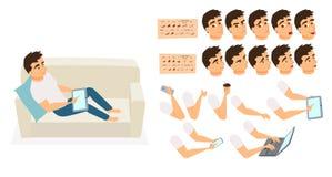 Criação do caráter do sofá do homem ilustração stock