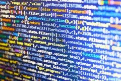 Criação do procedimento do roteiro Foto do monitor do computador de secretária Programação de software de WWW fotos de stock royalty free