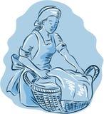Criada Basket Vintage Etching del lavadero Imagen de archivo libre de regalías