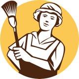 Criada Cleaner Duster Circle retro stock de ilustración