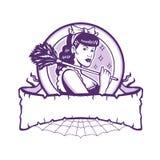 Criada francesa Female Cleaner Retro ilustración del vector