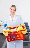 Criada joven With Cleaning Equipment Imagen de archivo