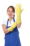 Criada linda con los guantes Foto de archivo libre de regalías