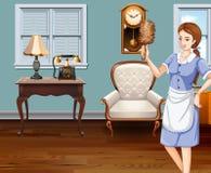 Criada que limpia la casa ilustración del vector