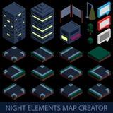 Criador isométrico do mapa dos elementos da noite Imagem de Stock Royalty Free