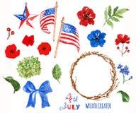 Criador patriótico da grinalda da aquarela 4o de símbolos de julho, isolado no fundo branco Bandeiras dos EUA, papoilas fotografia de stock