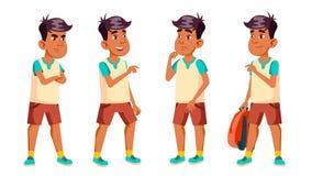 A criança árabe, muçulmana da estudante do menino levanta vetor ajustado Aluno alto Inteligente, estudando Para o cartão, anúncio ilustração do vetor