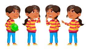 A criança árabe, muçulmana do jardim de infância da menina levanta vetor ajustado pré-escolar Jovem cheerful Para a Web, folheto, ilustração royalty free
